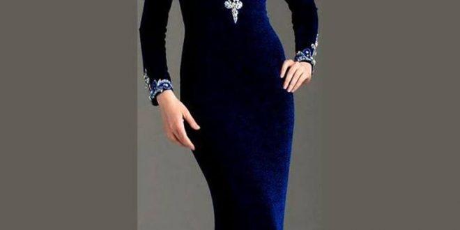 صورة موديلات فساتين مخمل جديده , ارقى الفساتين القطيفة