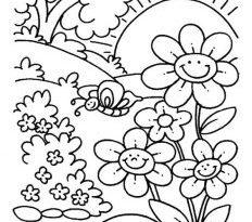صور فصل الربيع للتلوين , رسومات للرسم بدون الوان للاطفال